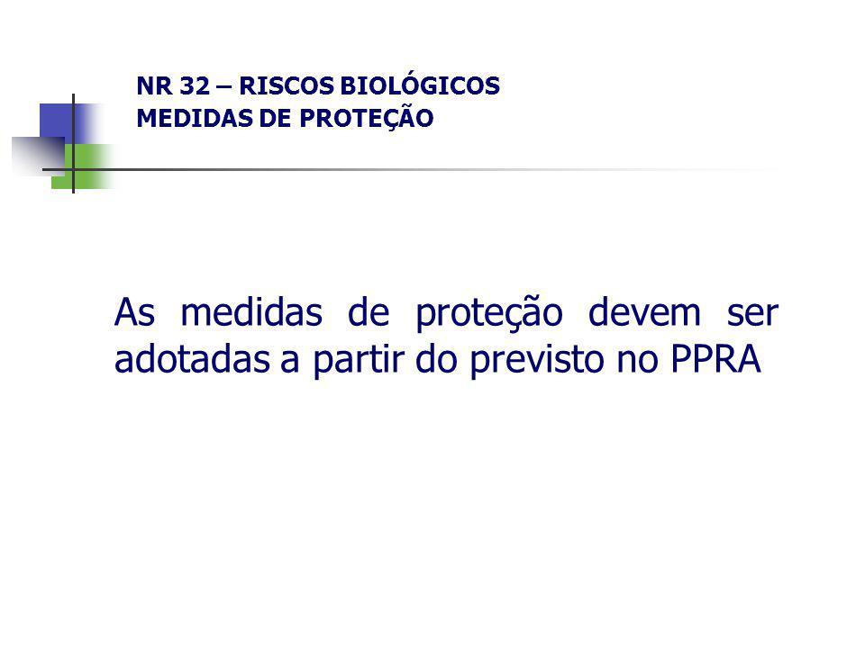 NR 32 – RISCOS BIOLÓGICOS MEDIDAS DE PROTEÇÃO As medidas de proteção devem ser adotadas a partir do previsto no PPRA