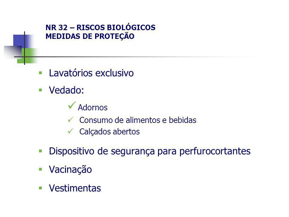 NR 32 – RISCOS BIOLÓGICOS MEDIDAS DE PROTEÇÃO Lavatórios exclusivo Vedado: Adornos Consumo de alimentos e bebidas Calçados abertos Dispositivo de segu