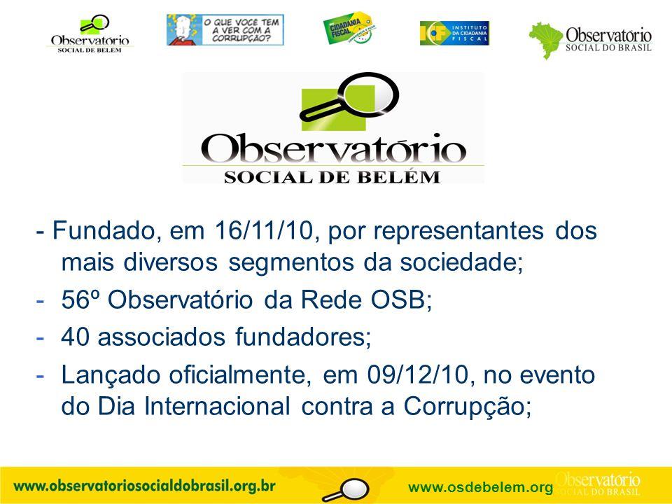 - Fundado, em 16/11/10, por representantes dos mais diversos segmentos da sociedade; -56º Observatório da Rede OSB; -40 associados fundadores; -Lançad