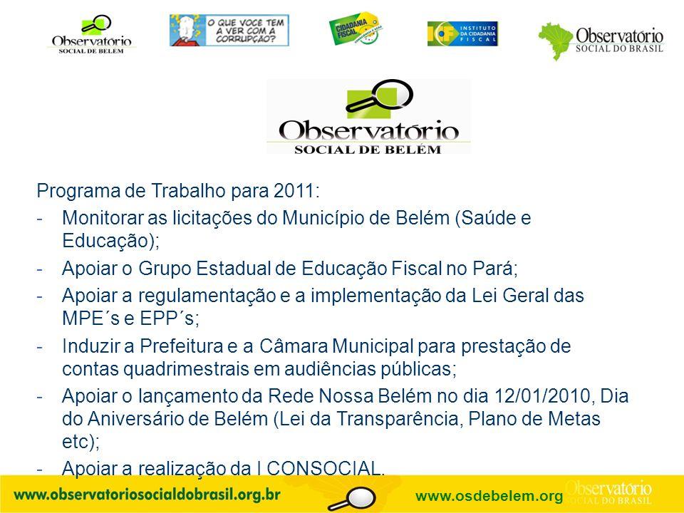 Programa de Trabalho para 2011: -Monitorar as licitações do Município de Belém (Saúde e Educação); -Apoiar o Grupo Estadual de Educação Fiscal no Pará