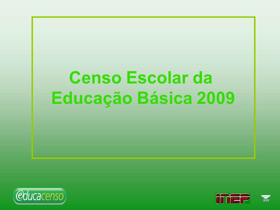 Matrículas 2008/2009 por etapas e modalidades Etapas/Modalidades da Educação Básica Matrículas 20082009Δ Educação Infantil 6.719.2616.762.6310,6 Creche 1.751.7361.896.3638,3 Pré-escola 4.967.5254.866.268-2,0 Ensino Fundamental 32.086.70031.705.528-1,2 Ensino Médio 8.366.1008.337.160-0,3 Educação Profissional 795.459861.1148,3 EJA 4.945.4244.661.332-5,7 Educação Especial 319.924252.687-21,0 Total da Educação Básica 53.232.86852.580.452-1,2 Fonte: DEED/ INEP/ MEC –Censo Escolar Matrícula 2008/2009 por Etapa e Modalidade
