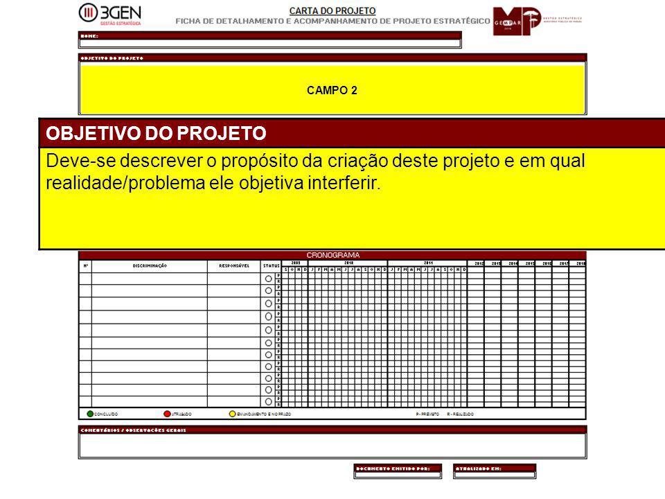 23 CAMPO 2 OBJETIVO DO PROJETO Deve-se descrever o propósito da criação deste projeto e em qual realidade/problema ele objetiva interferir.