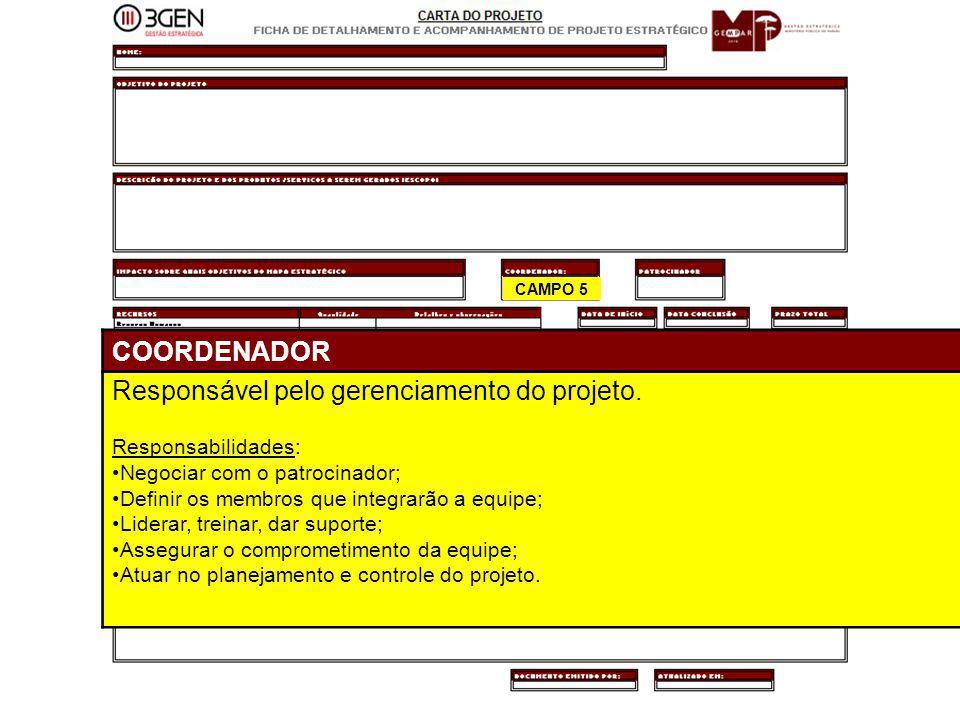 26 CAMPO 5 COORDENADOR Responsável pelo gerenciamento do projeto. Responsabilidades: Negociar com o patrocinador; Definir os membros que integrarão a