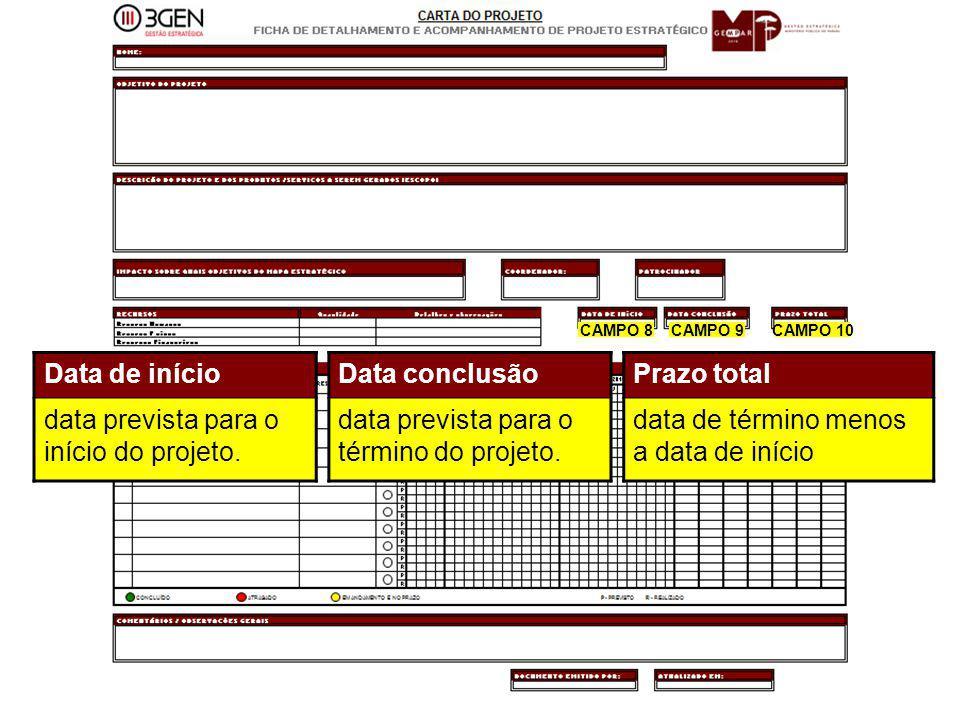 29 CAMPO 8CAMPO 9CAMPO 10 Data de início data prevista para o início do projeto. Data conclusão data prevista para o término do projeto. Prazo total d
