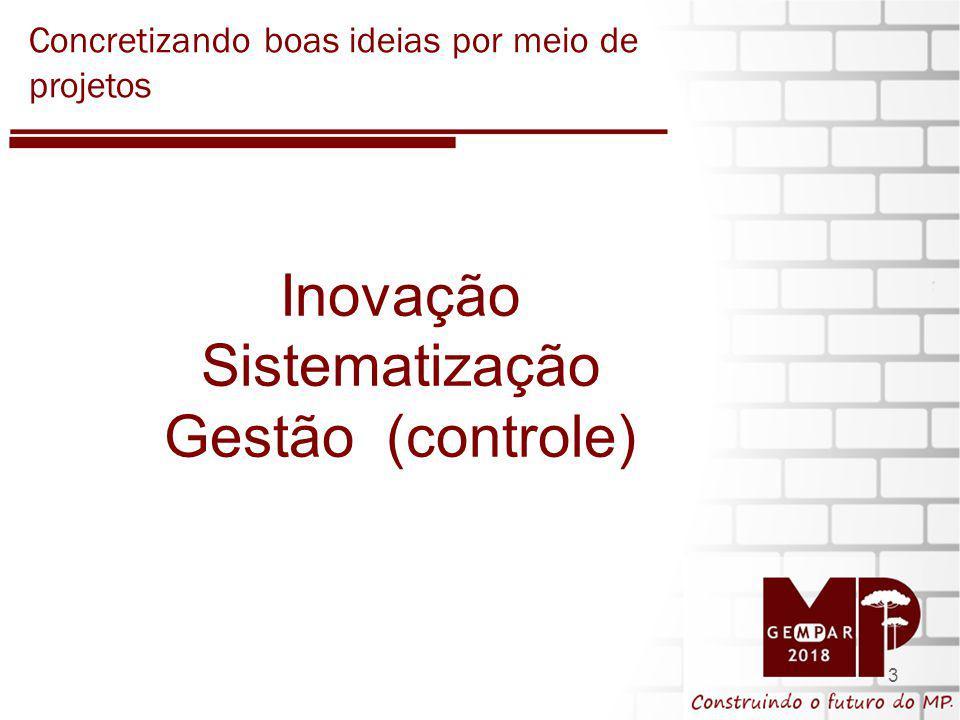 3 Inovação Sistematização Gestão (controle) Concretizando boas ideias por meio de projetos