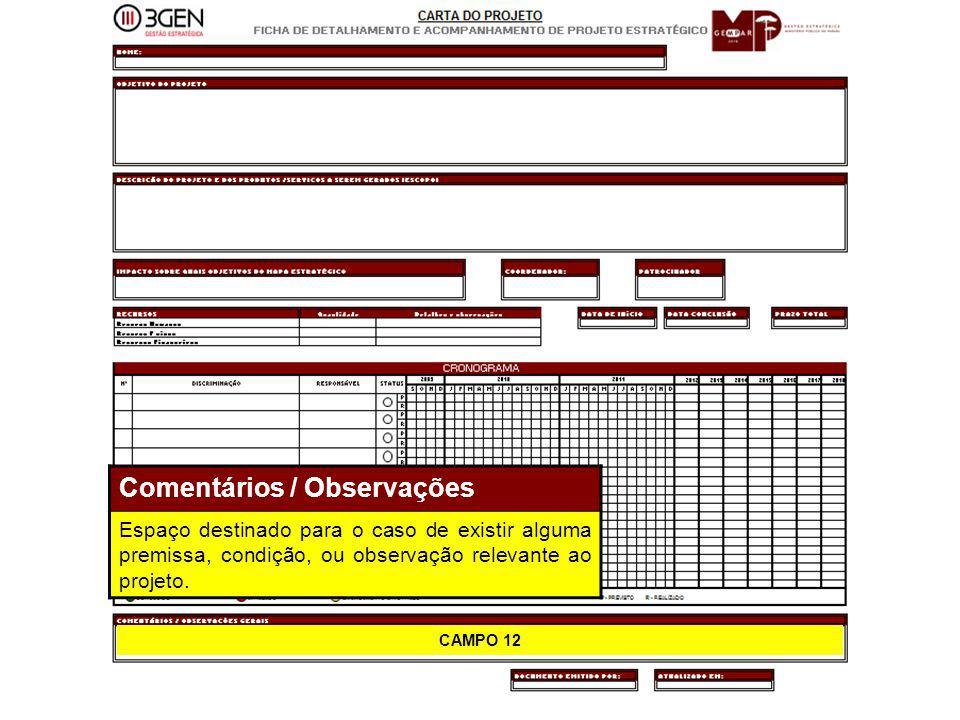 31 CAMPO 12 Comentários / Observações Espaço destinado para o caso de existir alguma premissa, condição, ou observação relevante ao projeto.
