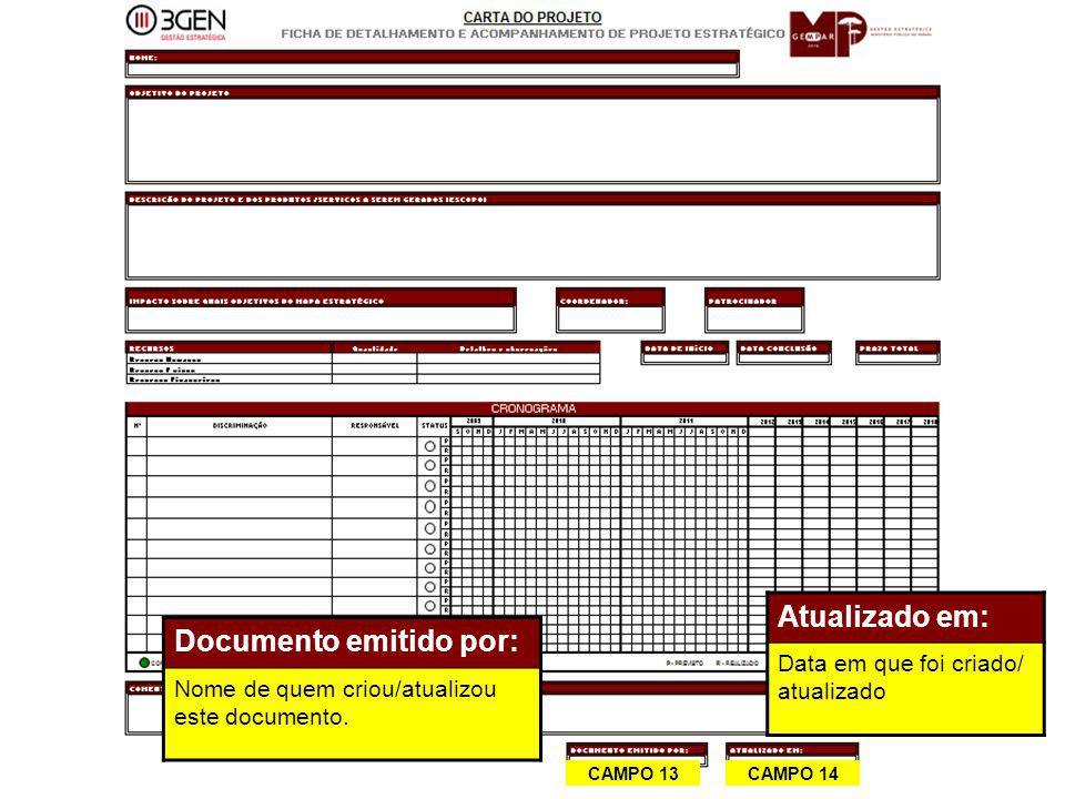 32 CAMPO 13 CAMPO 14 Documento emitido por: Nome de quem criou/atualizou este documento. Atualizado em: Data em que foi criado/ atualizado