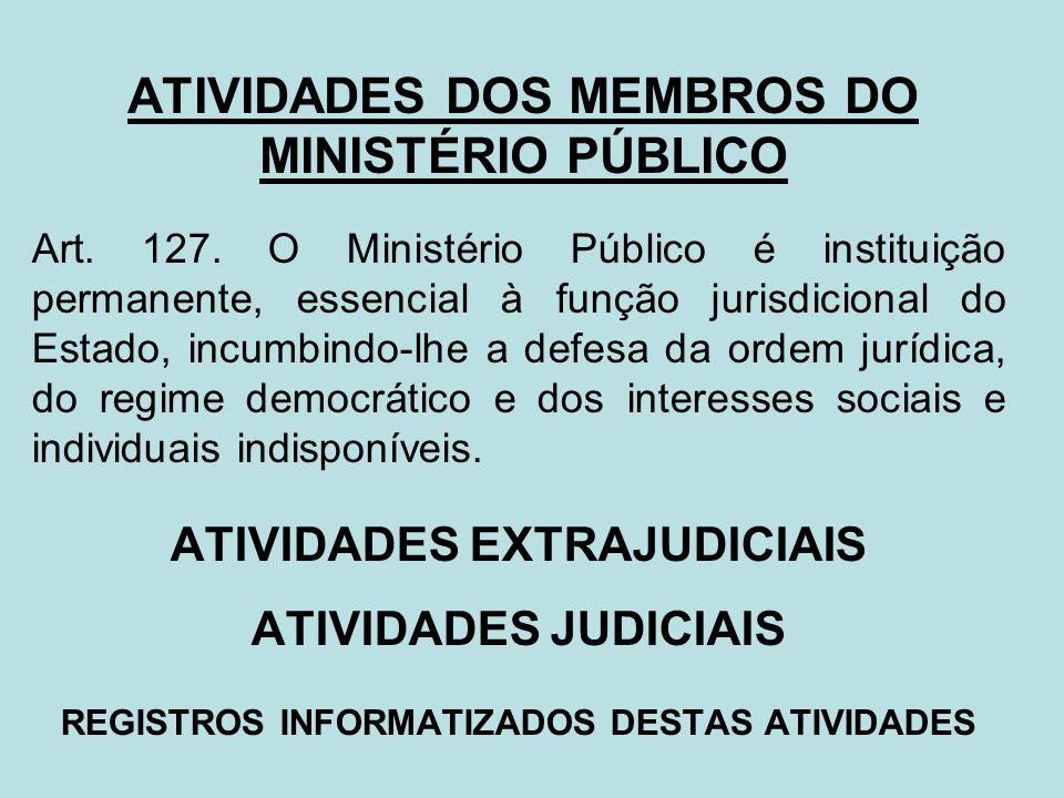 ATIVIDADES DOS MEMBROS DO MINISTÉRIO PÚBLICO Art. 127. O Ministério Público é instituição permanente, essencial à função jurisdicional do Estado, incu