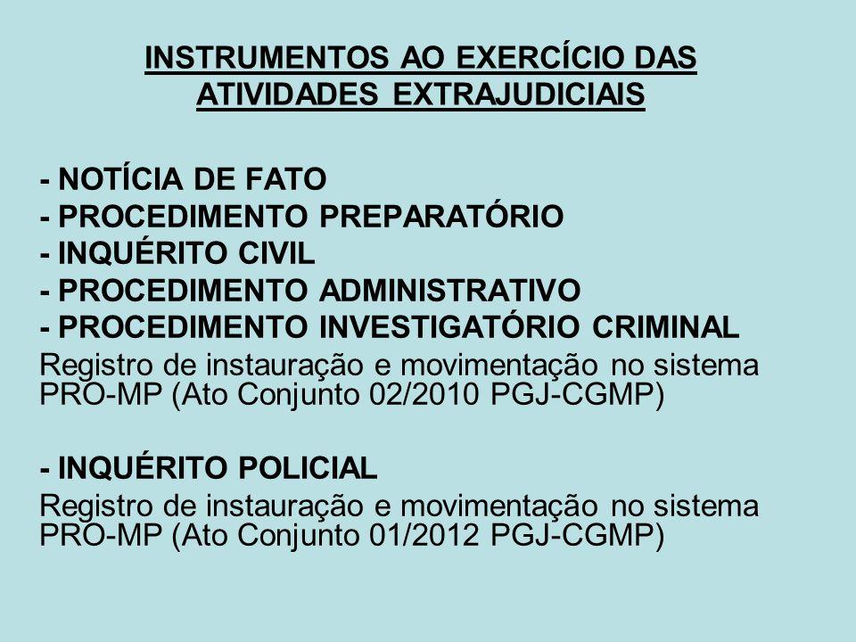 INSTRUMENTOS AO EXERCÍCIO DAS ATIVIDADES EXTRAJUDICIAIS - NOTÍCIA DE FATO - PROCEDIMENTO PREPARATÓRIO - INQUÉRITO CIVIL - PROCEDIMENTO ADMINISTRATIVO
