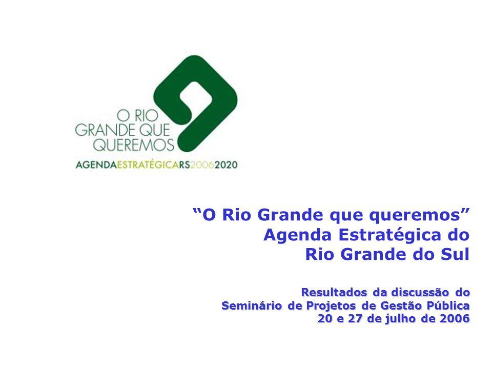 O Rio Grande que queremos Agenda Estratégica do Rio Grande do Sul Resultados da discussão do Seminário de Projetos de Gestão Pública 20 e 27 de julho