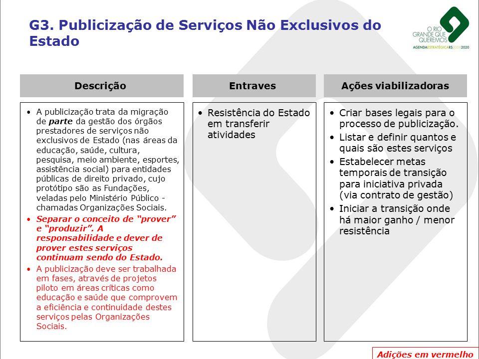 G3. Publicização de Serviços Não Exclusivos do Estado A publicização trata da migração de parte da gestão dos órgãos prestadores de serviços não exclu