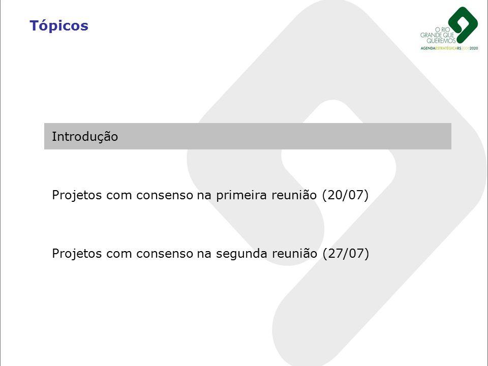 Introdução Projetos com consenso na primeira reunião (20/07) Projetos com consenso na segunda reunião (27/07) Tópicos