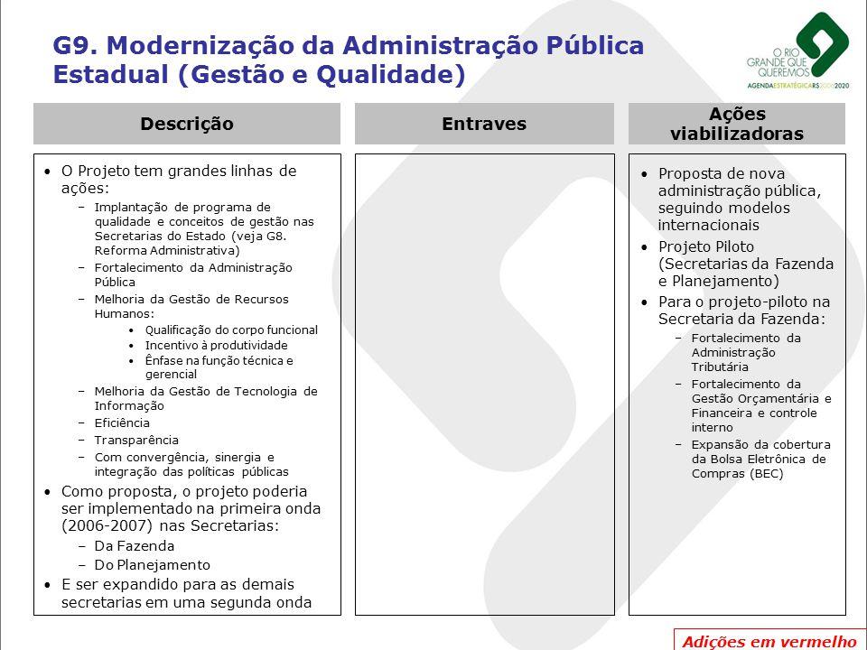 G9. Modernização da Administração Pública Estadual (Gestão e Qualidade) O Projeto tem grandes linhas de ações: –Implantação de programa de qualidade e