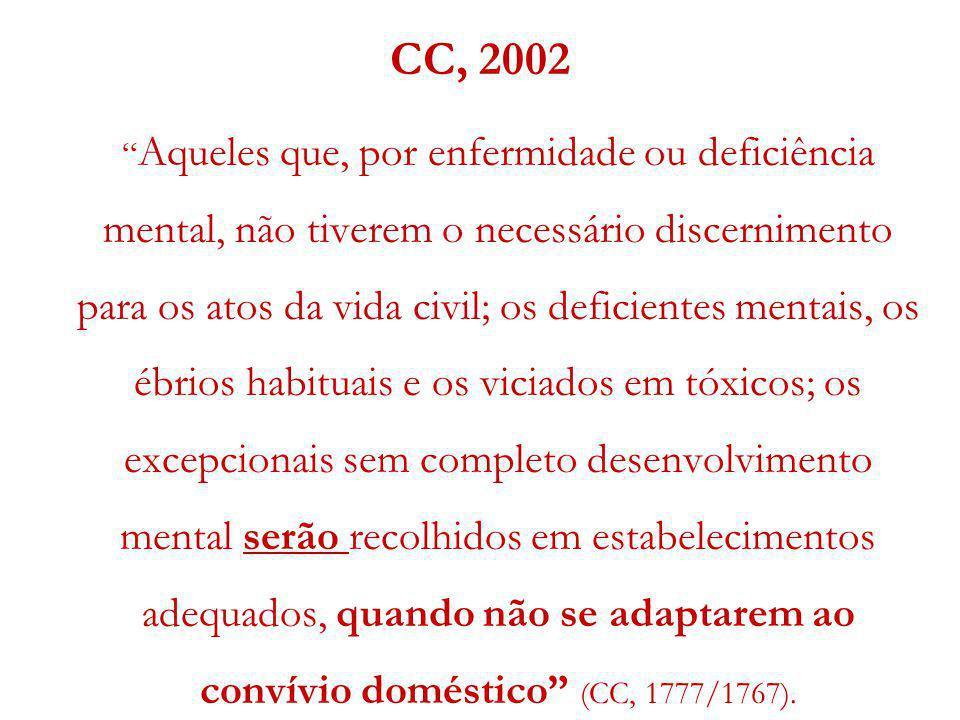 CC, 2002 Aqueles que, por enfermidade ou deficiência mental, não tiverem o necessário discernimento para os atos da vida civil; os deficientes mentais