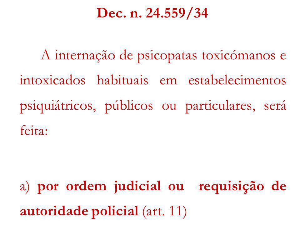 Dec. n. 24.559/34 A internação de psicopatas toxicómanos e intoxicados habituais em estabelecimentos psiquiátricos, públicos ou particulares, será fei