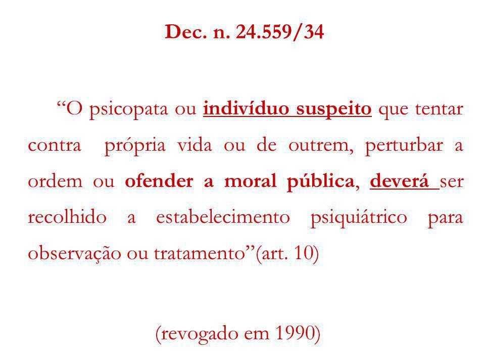 Dec. n. 24.559/34 O psicopata ou indivíduo suspeito que tentar contra própria vida ou de outrem, perturbar a ordem ou ofender a moral pública, deverá