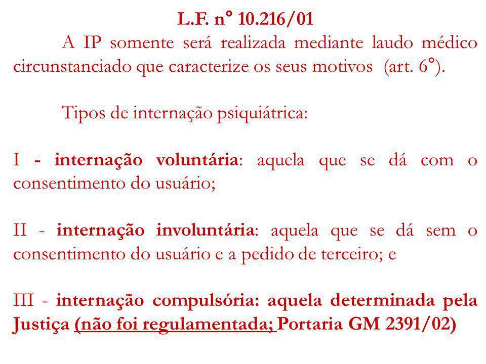 L.F. n° 10.216/01 A IP somente será realizada mediante laudo médico circunstanciado que caracterize os seus motivos (art. 6°). Tipos de internação psi