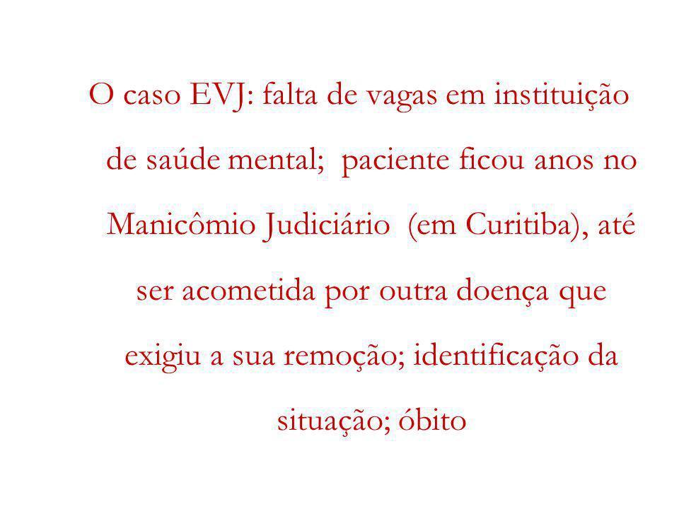 O caso EVJ: falta de vagas em instituição de saúde mental; paciente ficou anos no Manicômio Judiciário (em Curitiba), até ser acometida por outra doen
