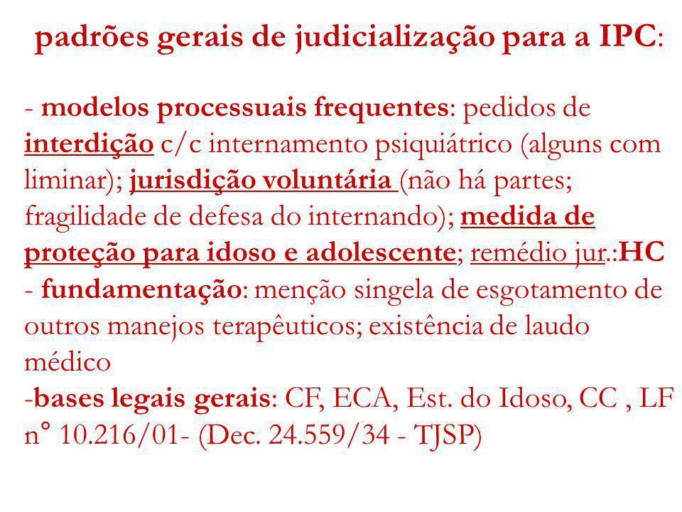 padrões gerais de judicialização para a IPC: - modelos processuais frequentes: pedidos de interdição c/c internamento psiquiátrico (alguns com liminar
