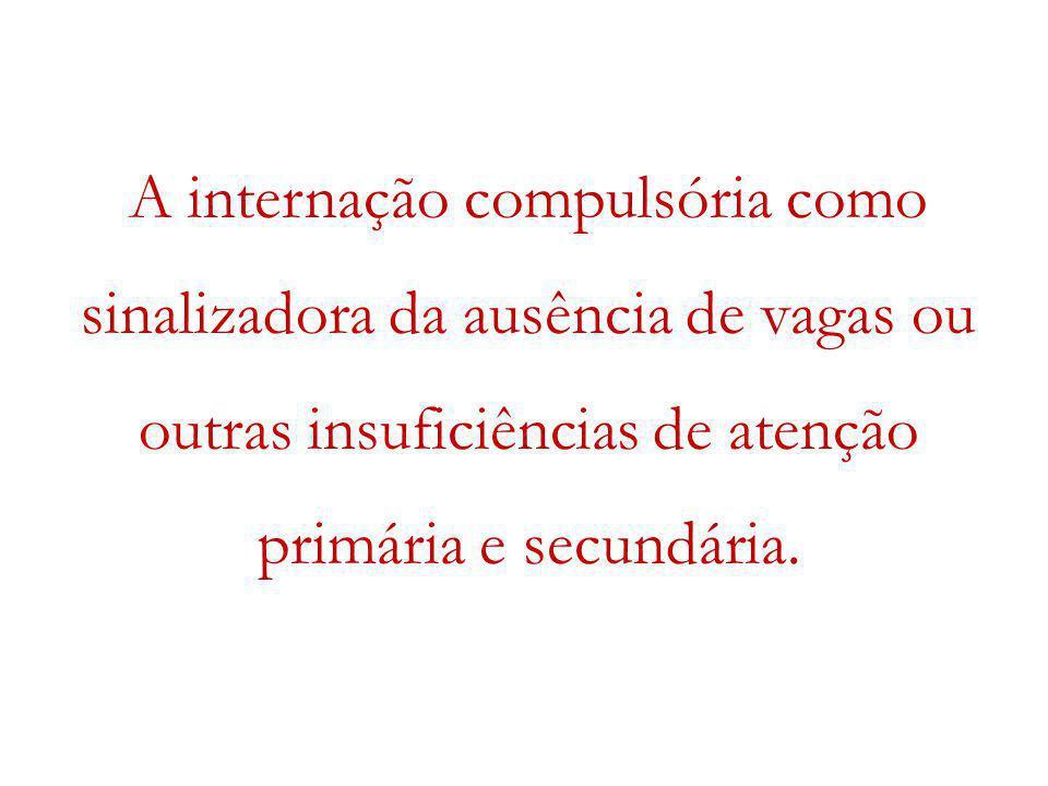 A internação compulsória como sinalizadora da ausência de vagas ou outras insuficiências de atenção primária e secundária.