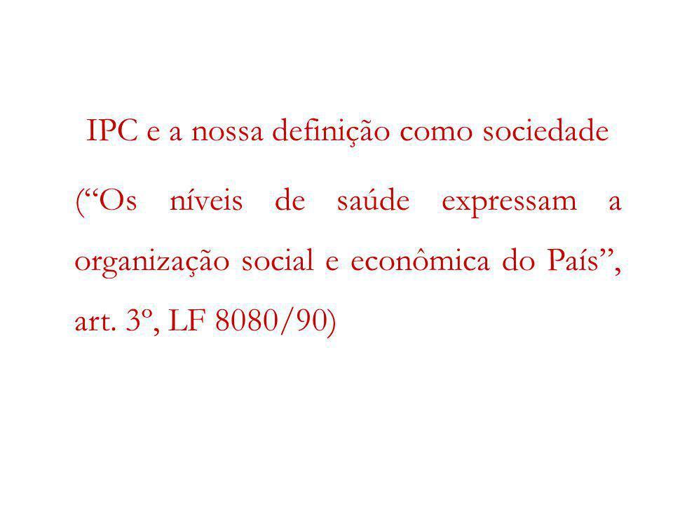IPC e a nossa definição como sociedade (Os níveis de saúde expressam a organização social e econômica do País, art. 3º, LF 8080/90)