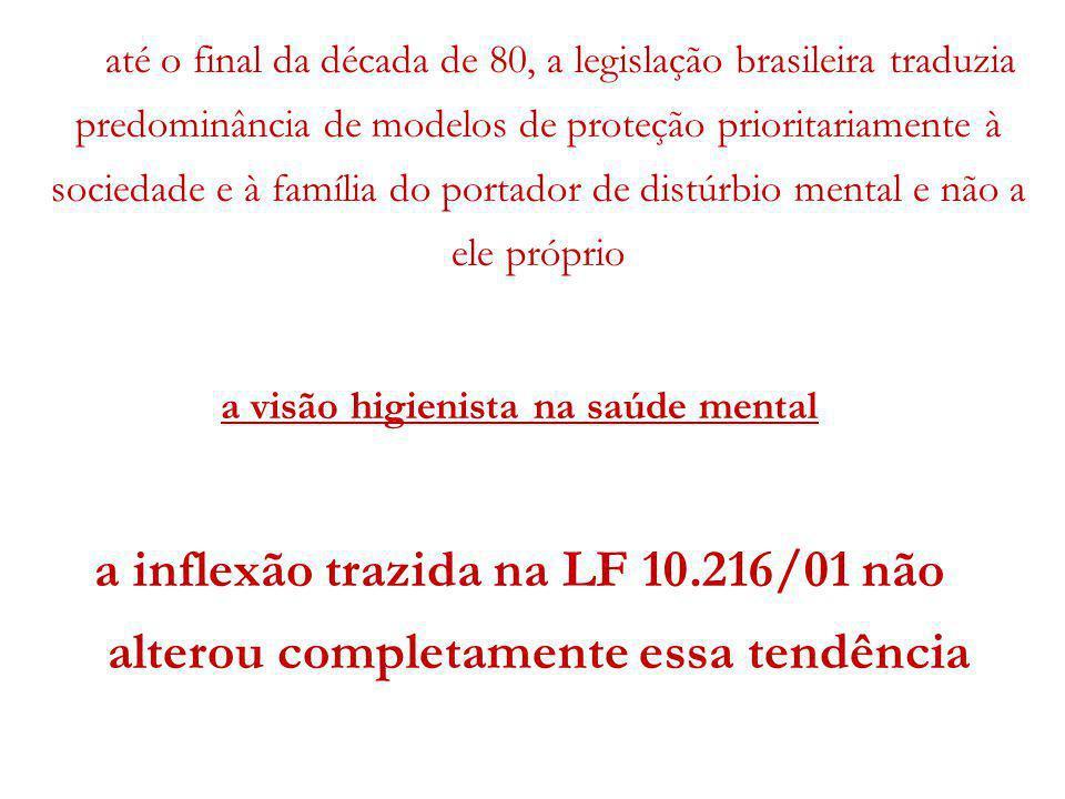 até o final da década de 80, a legislação brasileira traduzia predominância de modelos de proteção prioritariamente à sociedade e à família do portado