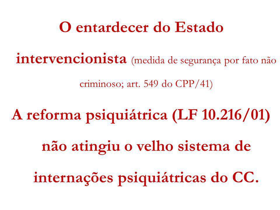 O entardecer do Estado intervencionista (medida de segurança por fato não criminoso; art. 549 do CPP/41) A reforma psiquiátrica (LF 10.216/01) não ati
