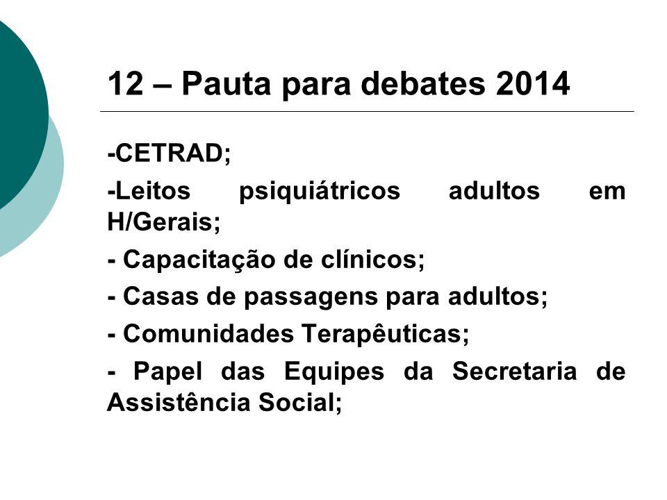 12 – Pauta para debates 2014 -CETRAD; -Leitos psiquiátricos adultos em H/Gerais; - Capacitação de clínicos; - Casas de passagens para adultos; - Comunidades Terapêuticas; - Papel das Equipes da Secretaria de Assistência Social;