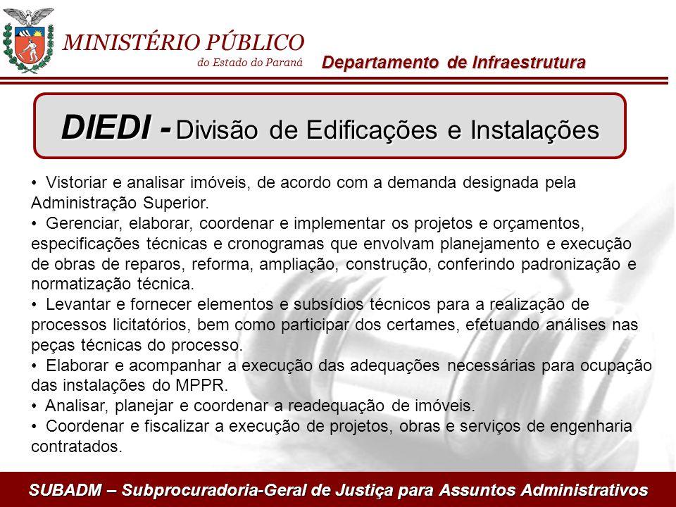 SUBADM – Subprocuradoria-Geral de Justiça para Assuntos Administrativos MINISTÉRIO PÚBLICO do Estado do Paraná Departamento de Infraestrutura Vistoria