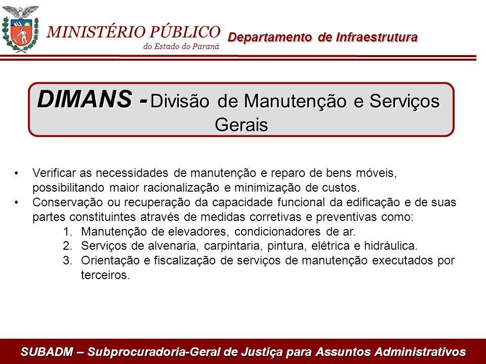 SUBADM – Subprocuradoria-Geral de Justiça para Assuntos Administrativos Verificar as necessidades de manutenção e reparo de bens móveis, possibilitand