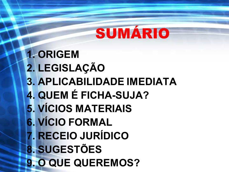 ORIGEM Campanha Ficha Limpa (abril de 2008).Sociedade civil organizada (CNBB e MCCE).