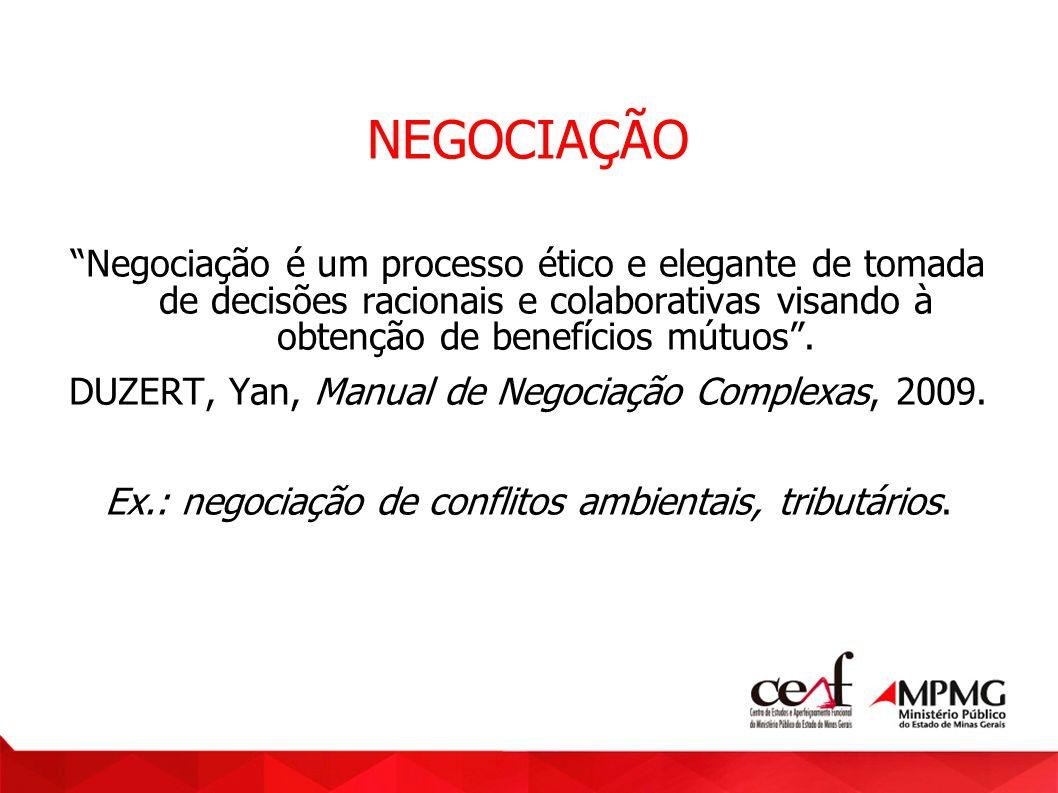NEGOCIAÇÃO Negociação é um processo ético e elegante de tomada de decisões racionais e colaborativas visando à obtenção de benefícios mútuos. DUZERT,