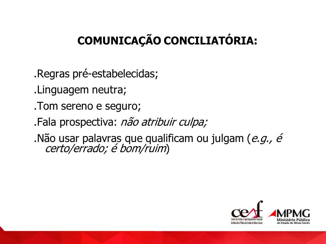 COMUNICAÇÃO CONCILIATÓRIA:.Regras pré-estabelecidas;.Linguagem neutra;.Tom sereno e seguro;.Fala prospectiva: não atribuir culpa;.Não usar palavras qu