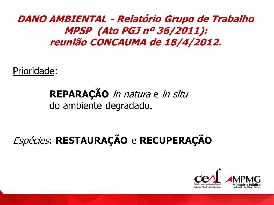 DANO AMBIENTAL - Relatório Grupo de Trabalho MPSP (Ato PGJ nº 36/2011): reunião CONCAUMA de 18/4/2012. Prioridade: REPARAÇÃO in natura e in situ do am