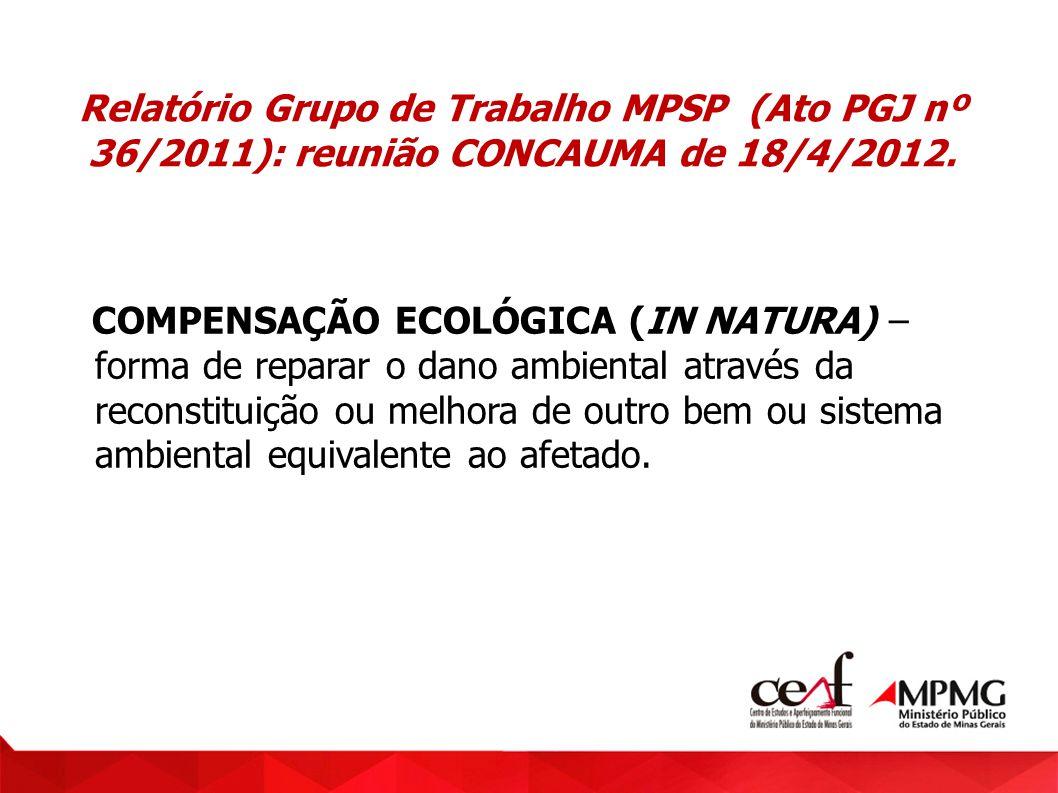 Relatório Grupo de Trabalho MPSP (Ato PGJ nº 36/2011): reunião CONCAUMA de 18/4/2012. COMPENSAÇÃO ECOLÓGICA (IN NATURA) – forma de reparar o dano ambi