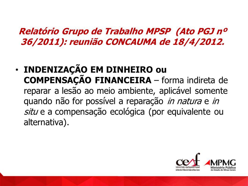 Relatório Grupo de Trabalho MPSP (Ato PGJ nº 36/2011): reunião CONCAUMA de 18/4/2012. INDENIZAÇÃO EM DINHEIRO ou COMPENSAÇÃO FINANCEIRA – forma indire