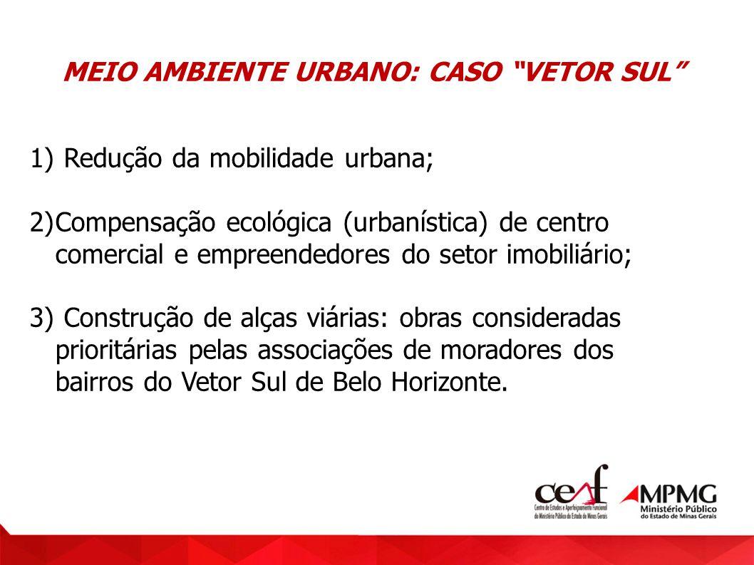 MEIO AMBIENTE URBANO: CASO VETOR SUL 1) Redução da mobilidade urbana; 2)Compensação ecológica (urbanística) de centro comercial e empreendedores do se