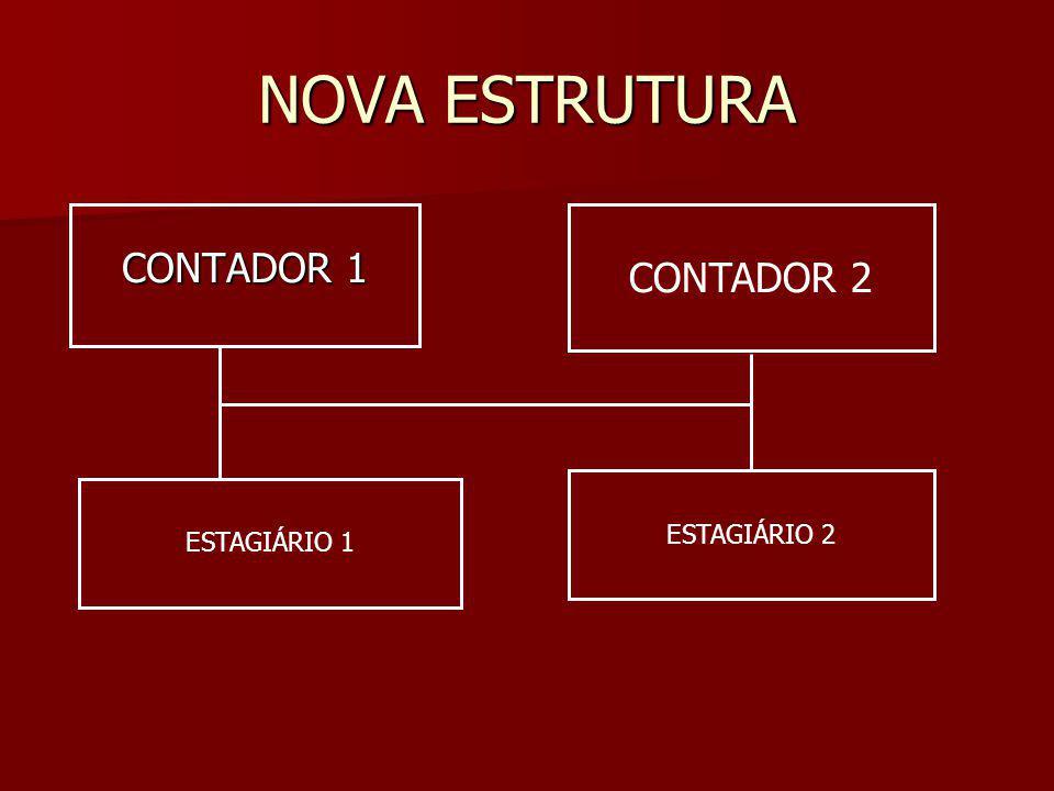 NOVA ESTRUTURA CONTADOR 1 CONTADOR 2 ESTAGIÁRIO 1 ESTAGIÁRIO 2