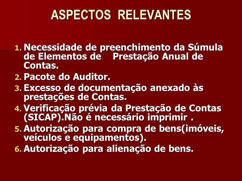 ASPECTOS RELEVANTES 1. Necessidade de preenchimento da Súmula de Elementos de Prestação Anual de Contas. 2. Pacote do Auditor. 3. Excesso de documenta