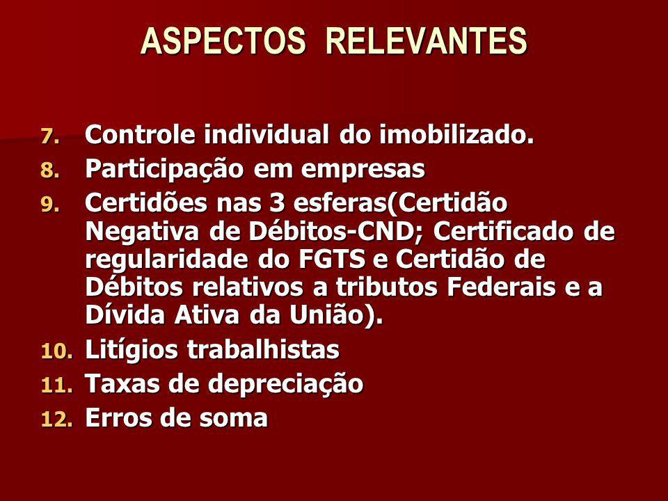 ASPECTOS RELEVANTES 7. Controle individual do imobilizado. 8. Participação em empresas 9. Certidões nas 3 esferas(Certidão Negativa de Débitos-CND; Ce