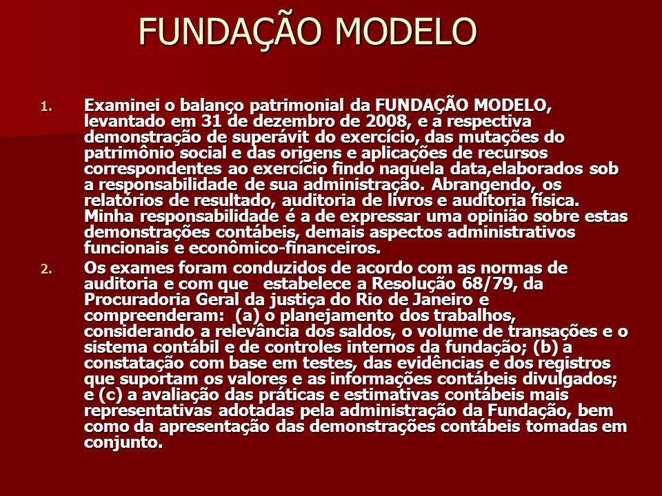 FUNDAÇÃO MODELO 1. Examinei o balanço patrimonial da FUNDAÇÃO MODELO, levantado em 31 de dezembro de 2008, e a respectiva demonstração de superávit do
