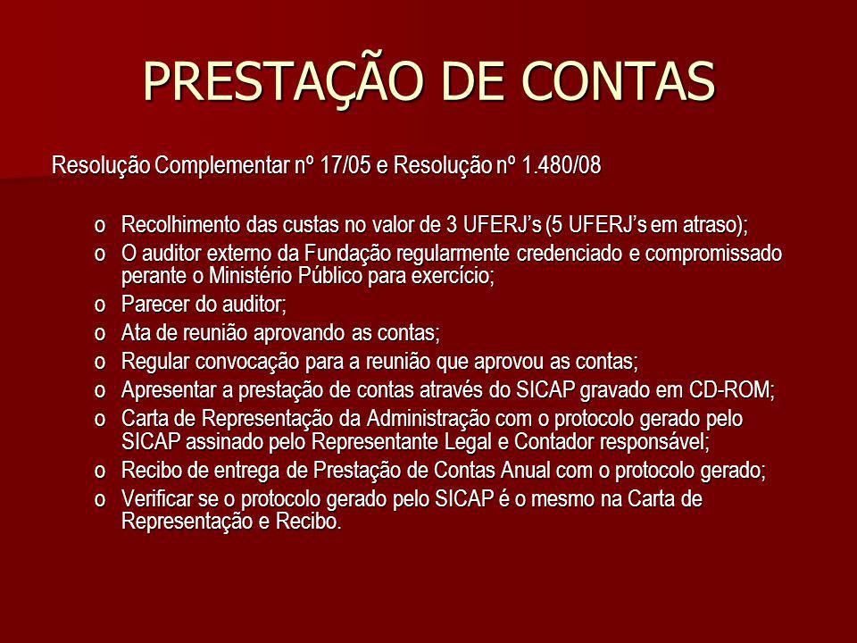 PRESTAÇÃO DE CONTAS Resolução Complementar nº 17/05 e Resolução nº 1.480/08 oRecolhimento das custas no valor de 3 UFERJs (5 UFERJs em atraso); oO aud