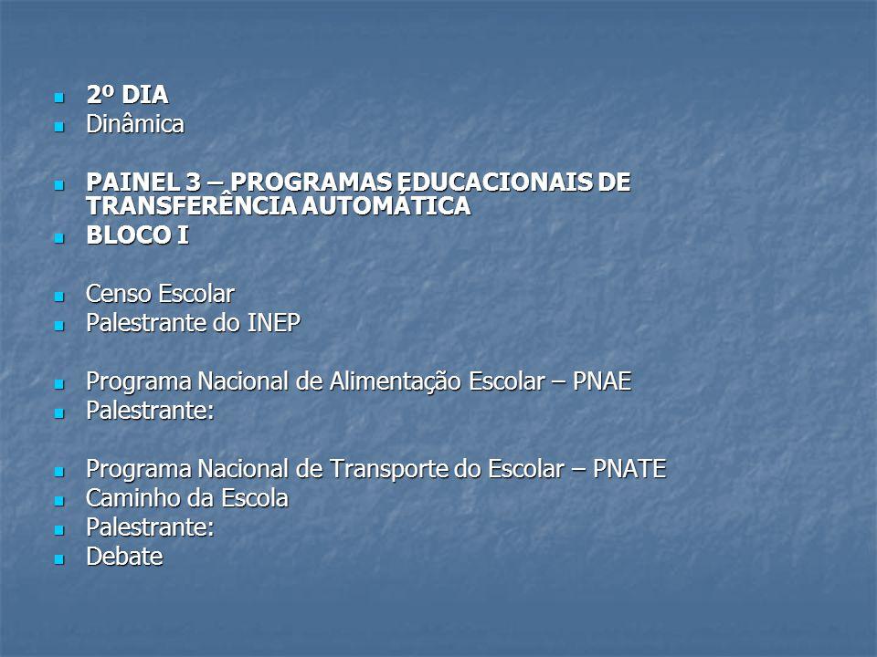 2º DIA 2º DIA Dinâmica Dinâmica PAINEL 3 – PROGRAMAS EDUCACIONAIS DE TRANSFERÊNCIA AUTOMÁTICA PAINEL 3 – PROGRAMAS EDUCACIONAIS DE TRANSFERÊNCIA AUTOM