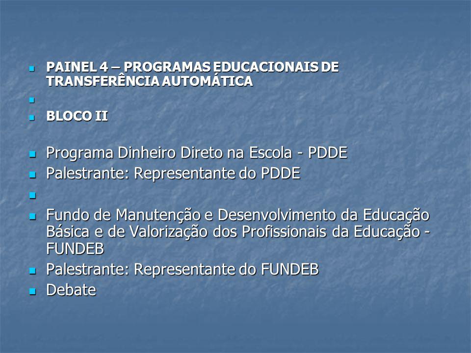 PAINEL 4 – PROGRAMAS EDUCACIONAIS DE TRANSFERÊNCIA AUTOMÁTICA PAINEL 4 – PROGRAMAS EDUCACIONAIS DE TRANSFERÊNCIA AUTOMÁTICA BLOCO II BLOCO II Programa Dinheiro Direto na Escola - PDDE Programa Dinheiro Direto na Escola - PDDE Palestrante: Representante do PDDE Palestrante: Representante do PDDE Fundo de Manutenção e Desenvolvimento da Educação Básica e de Valorização dos Profissionais da Educação - FUNDEB Fundo de Manutenção e Desenvolvimento da Educação Básica e de Valorização dos Profissionais da Educação - FUNDEB Palestrante: Representante do FUNDEB Palestrante: Representante do FUNDEB Debate Debate