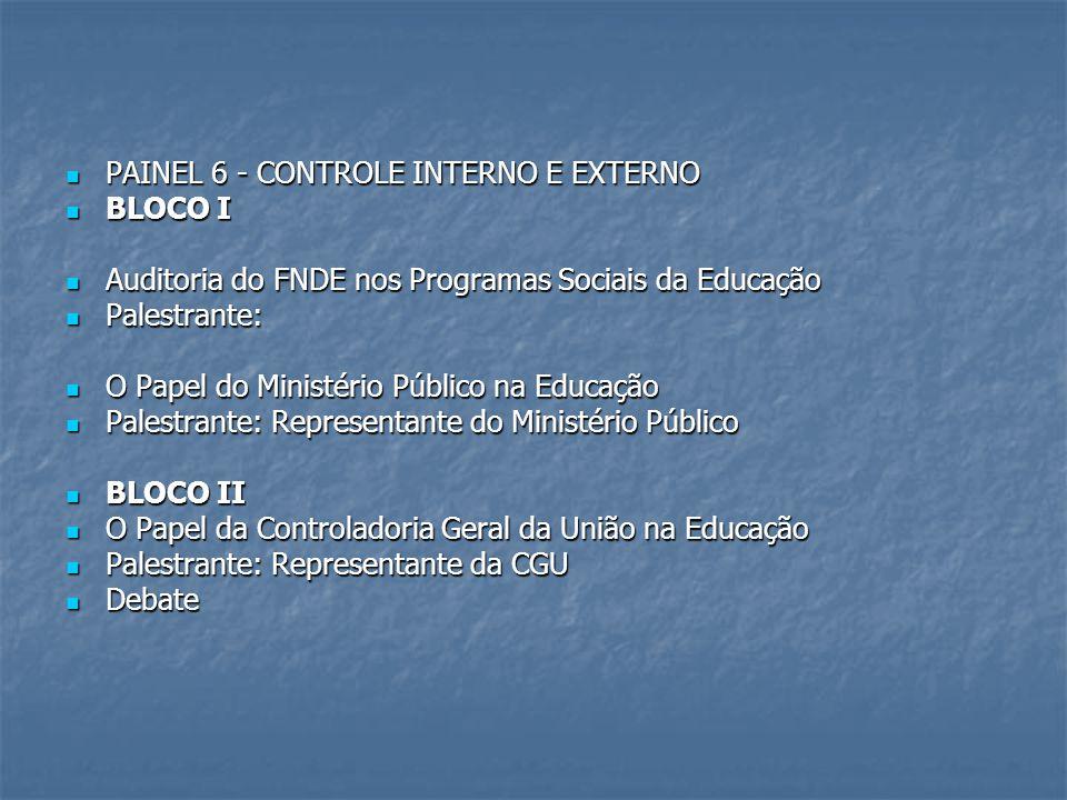 PAINEL 6 - CONTROLE INTERNO E EXTERNO PAINEL 6 - CONTROLE INTERNO E EXTERNO BLOCO I BLOCO I Auditoria do FNDE nos Programas Sociais da Educação Audito