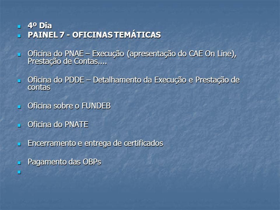 4º Dia 4º Dia PAINEL 7 - OFICINAS TEMÁTICAS PAINEL 7 - OFICINAS TEMÁTICAS Oficina do PNAE – Execução (apresentação do CAE On Line), Prestação de Conta