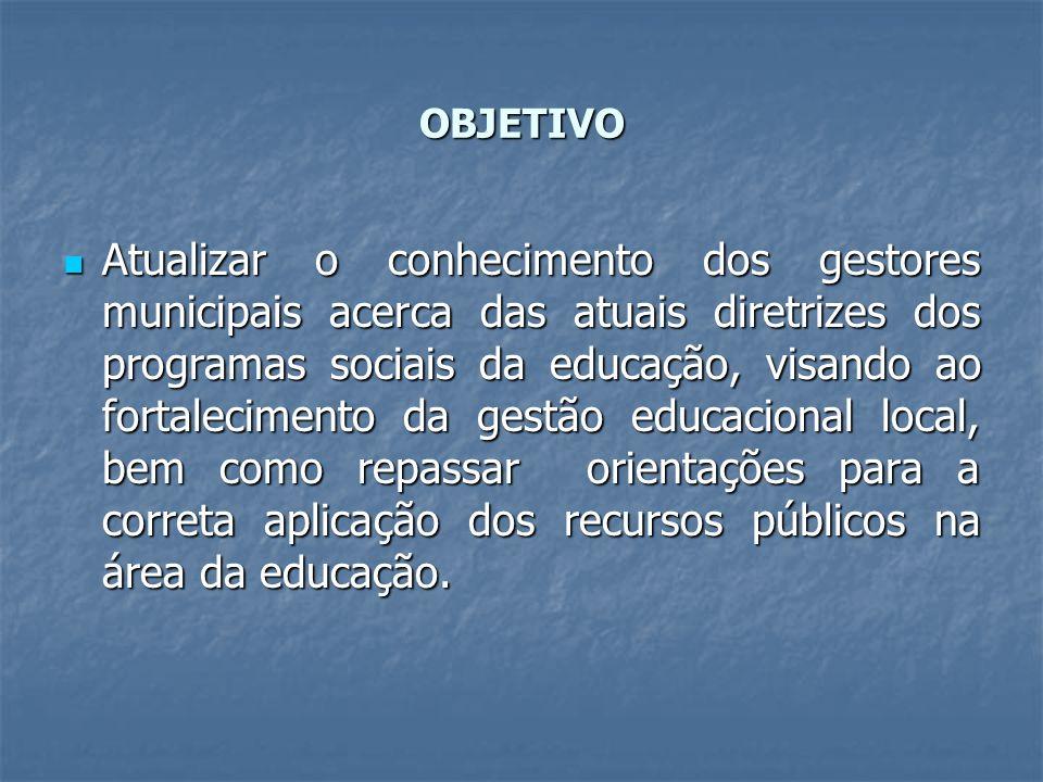 OBJETIVO Atualizar o conhecimento dos gestores municipais acerca das atuais diretrizes dos programas sociais da educação, visando ao fortalecimento da