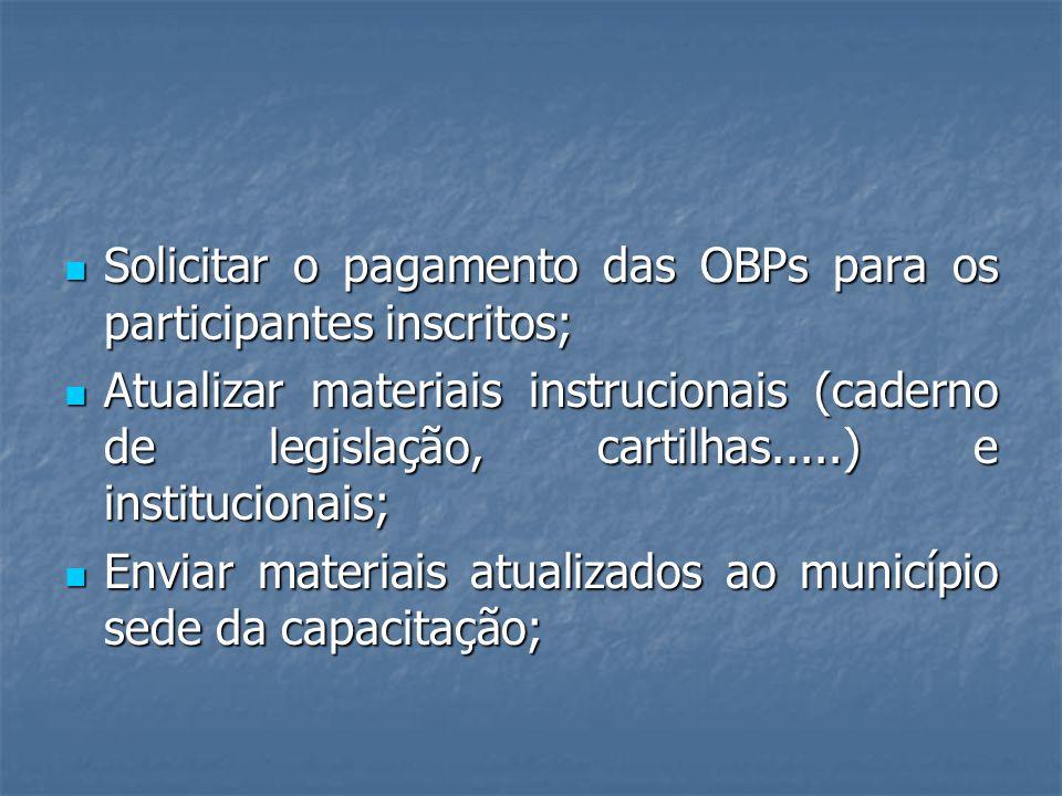 Solicitar o pagamento das OBPs para os participantes inscritos; Solicitar o pagamento das OBPs para os participantes inscritos; Atualizar materiais in
