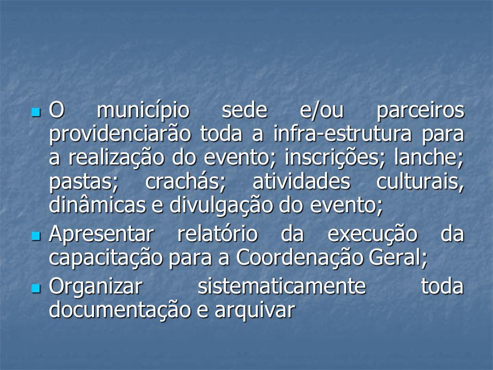 O município sede e/ou parceiros providenciarão toda a infra-estrutura para a realização do evento; inscrições; lanche; pastas; crachás; atividades cul