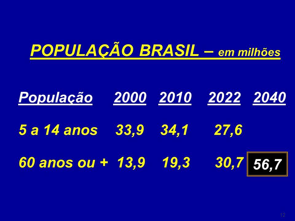 12 POPULAÇÃO BRASIL – em milhões População 2000 2010 2022 2040 5 a 14 anos 33,9 34,1 27,6 60 anos ou + 13,9 19,3 30,7 56,7